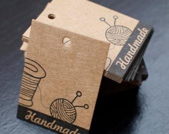 Price tags - brown kraft paper- 3cm x 4xm - knitting