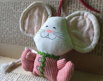 Christmas Mouse in Pajamas Cloth Soft 1982 Hallmark Xmas Ornament