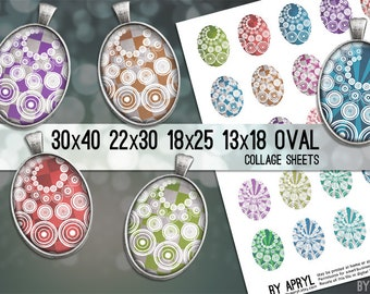 Oval Digital Collage Sheet 30x40 22x30 18x25 13x18 Circle Pattern Images for Glass and Resin Pendants Cameos Paper Craft