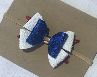 Fireworks- red , white, and blue glitter hair bow- forth of july 2018