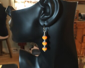 Lamp Work Glass Earrings Orange and Sterling Silver