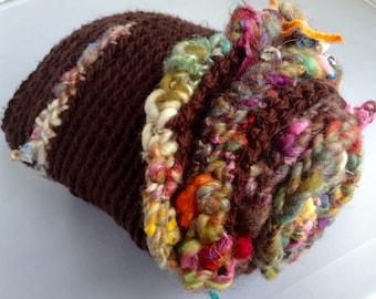 Crochet infinity scarf cotton with handspun art yarn border and trim
