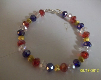 red white and blue 4th of july bracelet