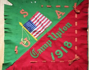 Vintage Felt Banner, Handmade Camp Cabin Flag, Antique Sign, 1900s College, Camp Upton Pillowcase
