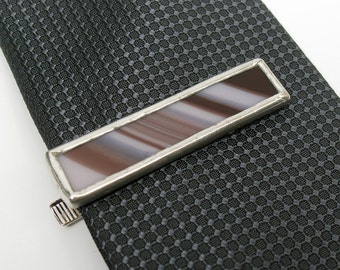Violet Lines - Mens Stained Glass Tie Clip