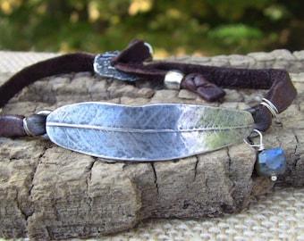 Sterling Silver Leaf Bracelet, Wrap Bracelet, Silver Leaf Bracelet, Leather Wrap Bracelet, Willow Leaf Bracelet