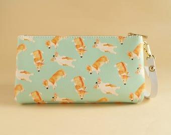 Corgi Bau Bau Zip Purse/Dog Zip/Wallet/Clutch/Coin Bag/Card  Holder/Accessory Case/Passport Case/Phone Sleeve/Lover Christmas Gift/Blue
