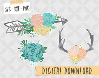 Floral Antlers and floral arrow - SVG DXF PNG Digital Download - Flowers with Antlers - Farmhouse svg, arrows and antlers, arrow flower svg