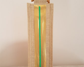 One Bottle Jute bag - decorated for Christmas