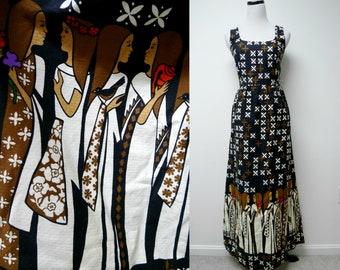 Malia . 60s ladies in muumuu dresses and floral pattern . sleeveless maxi dress . fits like a small