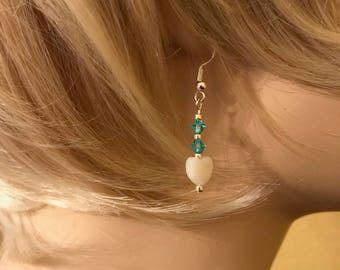 Heart Earrings: River Shell. Turquoise Swarovski Crystals
