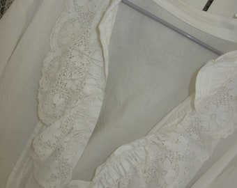 White shirt reworked with antique lace, shabby chic, magnolia, gypsy, romantic