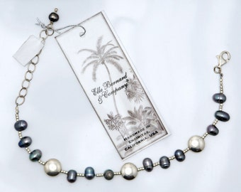Purple Pearl bracelet OCEAN WAVE with Blue Dark Indigo pearls, Sterling Silver coin beads and Sterling Silver findings