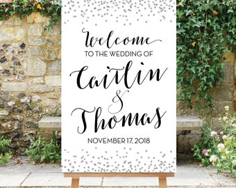 Wedding Welcome Sign - Silver Wedding Decor - Black and Silver - Silver Glitter - Large Wedding Sign Printable Digital The Giselle