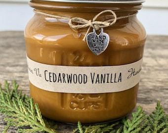 Cedarwood Vanilla 8oz Soy Wax Candle Handmade Eco Friendly Vegan All Natural