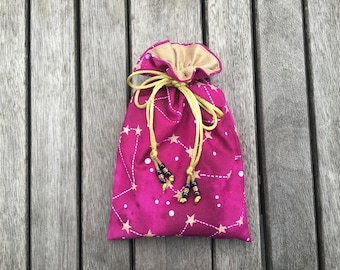 Raspberry Skies Tarot / Oracle Bag Lined with Antique Gold Dupion Silk