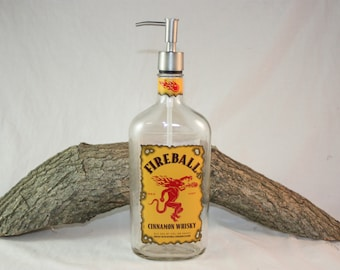 Upcycled Fireball Liquor Bottle Re-Purposed into Pump, Soap Dispenser, Lotion Dispenser, Hot Sauce Pump, Barware, 750ml Fireball Bottle