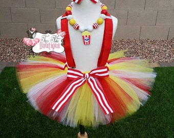Little Miss POPcorn- Red, Yellow, White, Striped baby/child Tutu with hairbow:  Newborn-5T