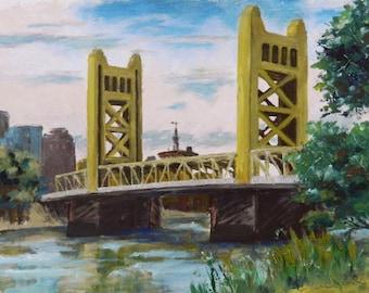 Tower Bridge - Sacramento Fine Art Original Oil Painting