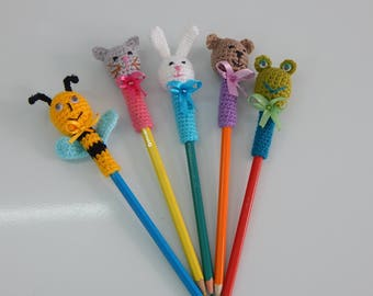 Amigurumi  pencil topper, crochet animal head pencil cozy, the cap on the pencil