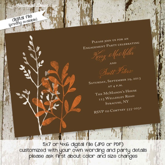 Couples Bridal Invitation I do BBQ engagement party co-ed party invite Rehearsal Dinner after party invitation orange 338 Katiedid Designs