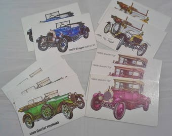 Lot of 10 Vintage Unused Birthday Cards Featuring Antique Cars Swift, Singer, Guarini Tourino made by Fantusy U.S.A.