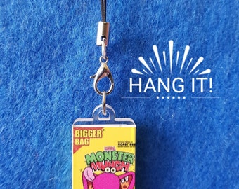 Handmade Plastic Roast Beef Monster Munch Phone/Zip/Bag Charm. Kitsch Retro Fun and Quirky