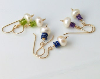 White Button Pearl and Stacked Stone Dangle Earrings, Amethyst Peridot or Lapis Lazuli with Ivory Pearl, Gold Filled Pearl and Gemstones