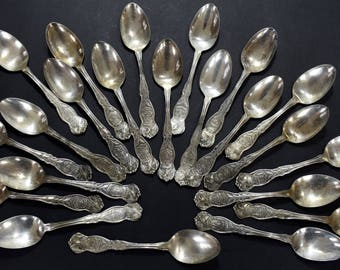 Wm Rogers & Sons AA Silver Plate Pat. Applied For 1910-1915 Eagle Souvenir Spoons - 22 State Spoons Instant Antique Tea Spoon Collection