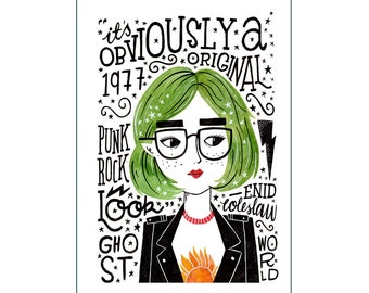 A3 Art Print | Enid Coleslaw Ghost World | Hand Lettering Illustration