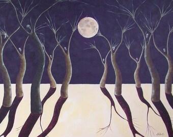 Moon Dance, Surreal Landscape Fine Art Print, Night Sky, Full Moon, Tree People