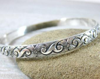 Floral Sterling Silver Bangle Wide Silver Bracelet Nature Inspired Jewelry Art Deco Bracelet Stacking Bracelet Patterned Bangle Bracelet GRJ