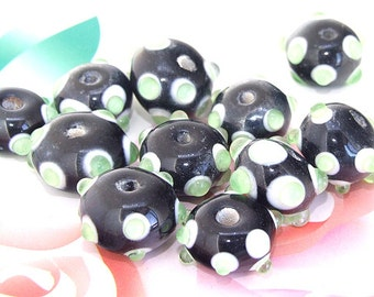 5beads/lot Charm Candy Green Dot Rondelle Black Lampwork gemstone beads 8mmx14mm
