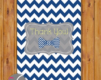 "Bow Tie Thank You Card Navy Blue Chevron Flat Card Print Your Own All Occasion 4""x6"" Digital Instant Download (ty-157)"