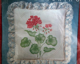 Geraniums By Cathy Needlecraft Inc. Vintage Candlewicking Embroidery Kit Undated