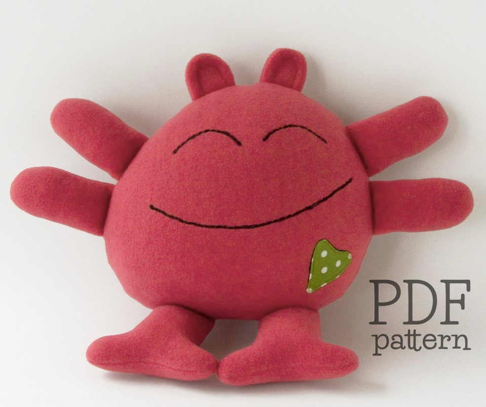 Monster plushie pattern soft toy sewing pattern baby toy