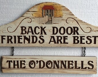 Back Door Friends Personalized Sign