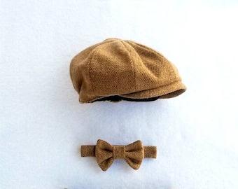 Baby Hat and Tie, Baby Boy, Newborn Prop, Baby Boy Prop, Ring Bearer, Newsboy, Baby Newsboy Hat, Baby Boy Hat, Boy Props, Baby Boy Pictures