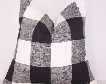 Black Check Pillow, Toss Pillow, Black Buffalo Check Pillow Cover, Euro Pillow, Sham, Lumbar,Couch Pillow,Throw Pillow,Bedding,Various Sizes