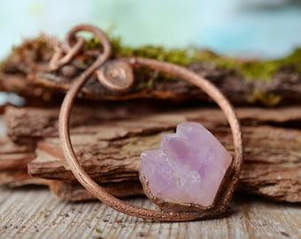 raw rough amethyst necklace raw crystal jewelry february birthstone amethyst pendant gift for women