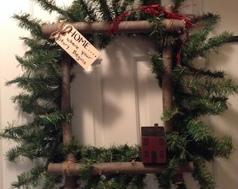 Primitive House Square Wreath, Home is where your story begins, red rustic wood house, front door primitive wreath, Salt Box House Wreath