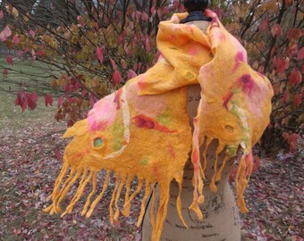 Wet felted Scarf When Autumn Hugs; OOAK; Unique Gift;  Eco-Fashion;  Birthday Gift