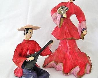 Ceramic Japanese Dancer & Musician Statuary Figurines 1960s