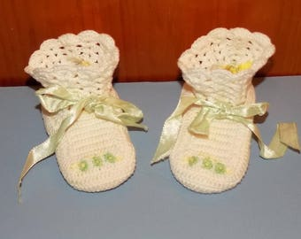 True Vintage Hand Crochet Baby Booties