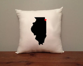 Illinois Pillow with Optional Heart