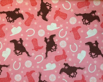 Pink and Coral - Rodeo Rider by Riley Blake Designs. Cowgirl Fabric. Rodeo Fabric. Quilting Fabric. Children's Fabric.
