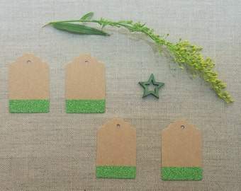 green sparkle glitter kraft gift tags price hang tags