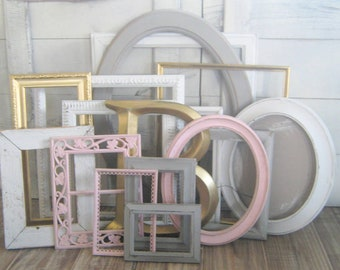 Custom Picture Frames Set - PInk, Gold, Gray, and White GALLERY WALL SET- Nursery Decor - Shabby Chic - Vintage and Ornate - Distressed