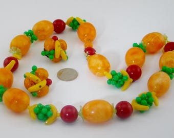 Vintage Fruit Salad Necklace Clip On Earrings Set Western Germany 1940s 1950s Carmen Miranda Charm Necklace Lucite Jewelry Set Gift for Her