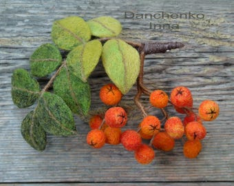 Brooch Rowan Berries Felted brooch Felt brooch orange-Wool Felt Jewelry felt art-rowan berries